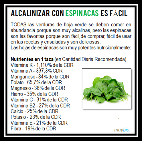 Alcalinizar con Espinacas